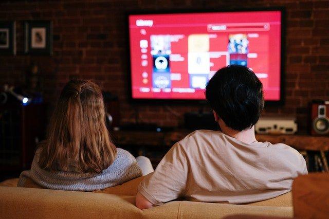 sitting watching smart tv box